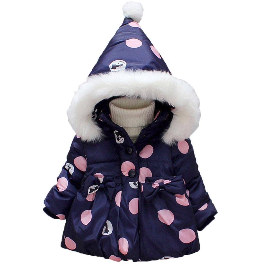 Baby Girl Winter Hooded Cotton Bow Coat Thick Warm Outwear Clothes Hoodies (80, Dark Blue)