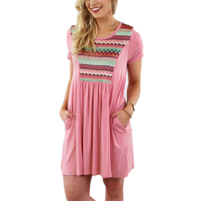 Summer Mae Women Plus Size Ethnic Printed Splicing Casual Pocket Dress