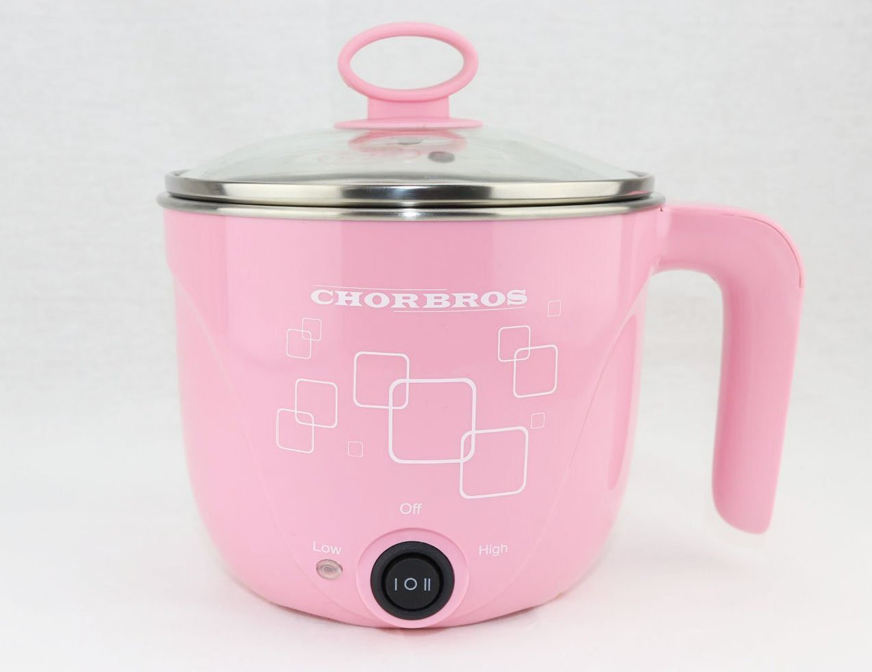 1L CHORBROS Electric Stainless steel pink Hot Pot with Egg Cooker 600W,Travel Pot,Personal pot,Cute Pot,Instant Noodles Pot,电火锅,学生锅