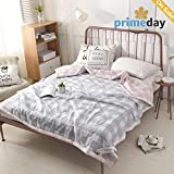 HMTOP [Latest Arrival] Comforter Set Thin Quilt Gray and White Lattice Pink Plaid Reversible 100% Cotton Perfect Blanket For Summer Full/Queen (200x230cm)