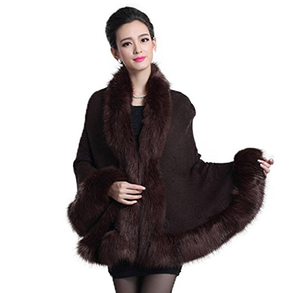 Roniky Women Luxury Bridal Faux Fur Shawl Wraps Cloak Coat Sweater Cape (Brown)