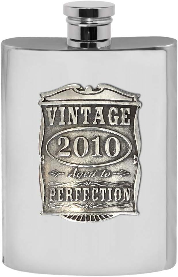 English Pewter Company VIN021 Flasque en /étain pour 10e anniversaire de mariage Motif ann/ées 2010 170 ml