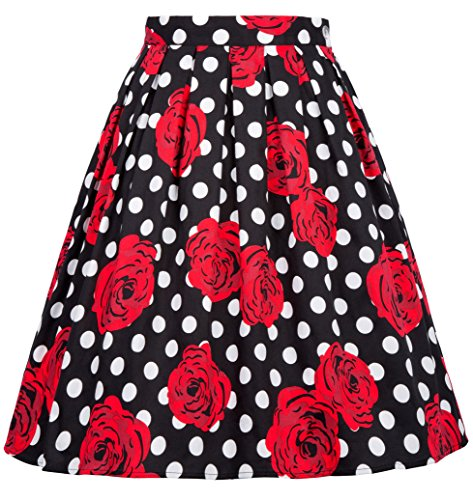 (GRACE KARIN Flared Pleated Summer Swing Skirt for Juniors Teens Size M)