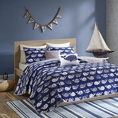 4 Piece Kids Dark Blue White Grey Whales Theme Coverlet Twin XL Set, Fun All Over Underwater Animal Bedding, Cute Stylish Geometric Ocean Sea Life Multi Patterns Whale Themed Pattern, Navy Gray