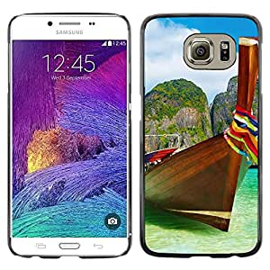 FECELL CITY // Duro Aluminio Pegatina PC Caso decorativo Funda Carcasa de Protección para Samsung Galaxy S6 SM-G920 // Tropical Sea Summer Sun Travel