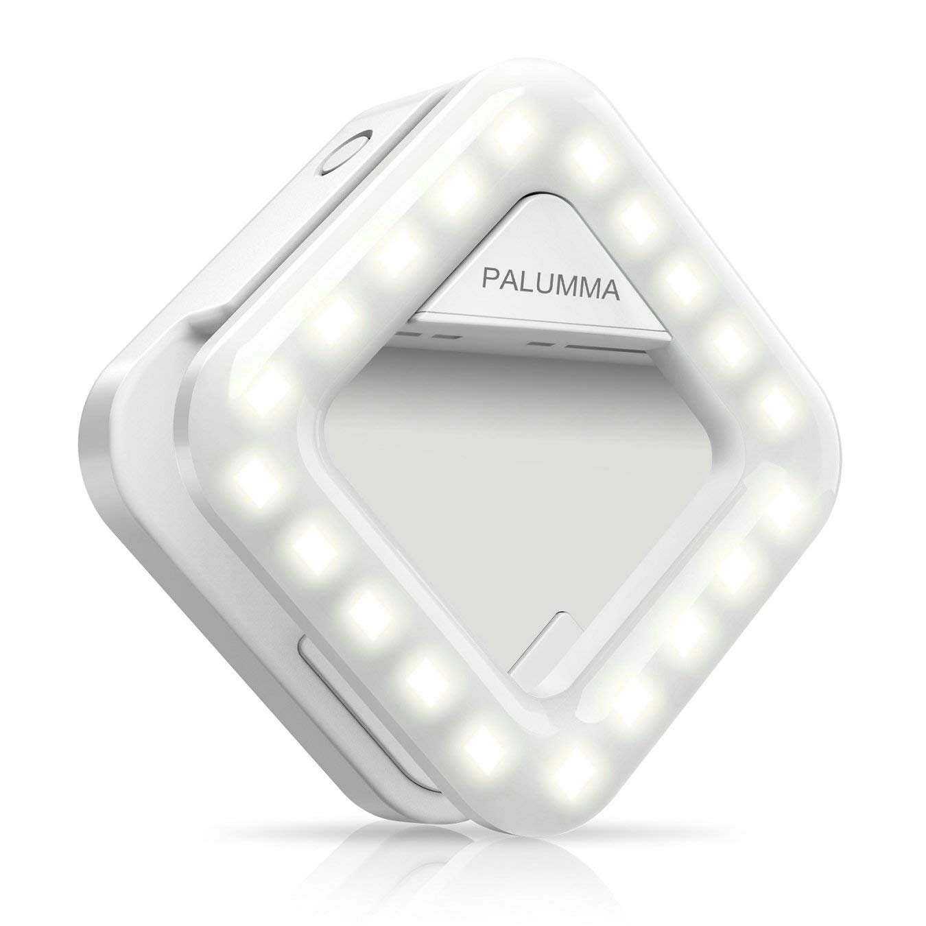Palumma LED Selfie Light, Clip On Portable Selfie Ring with 9-Level Adjustable Brightness 32 LED Bulbs, Continue to Function As a Handbag Light, Build-in Rechargeable Battery B10Y