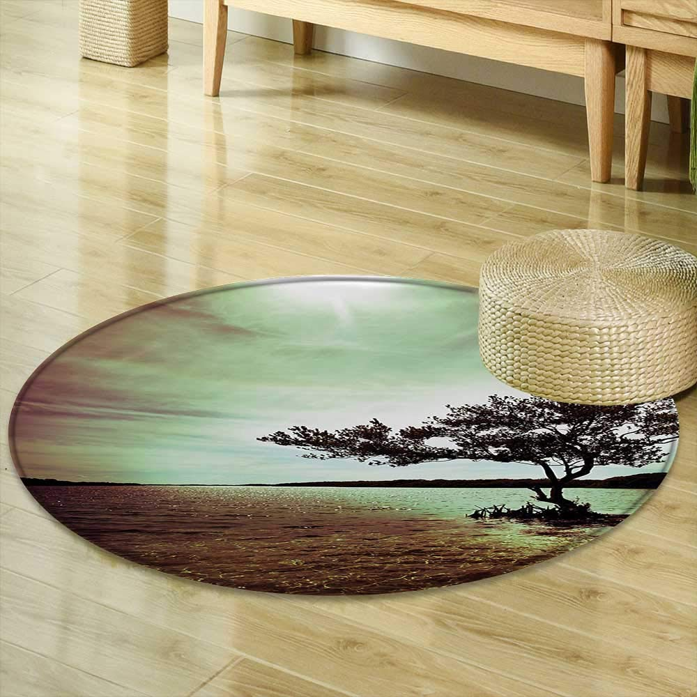Mikihome Dining Room Home Bedroom Carpet Lonely Tree Scene Accessories College List One of a Kind Machine Washable Silky Satin in Woodsy Burgundy Green Brown Non Slip Rug R-24
