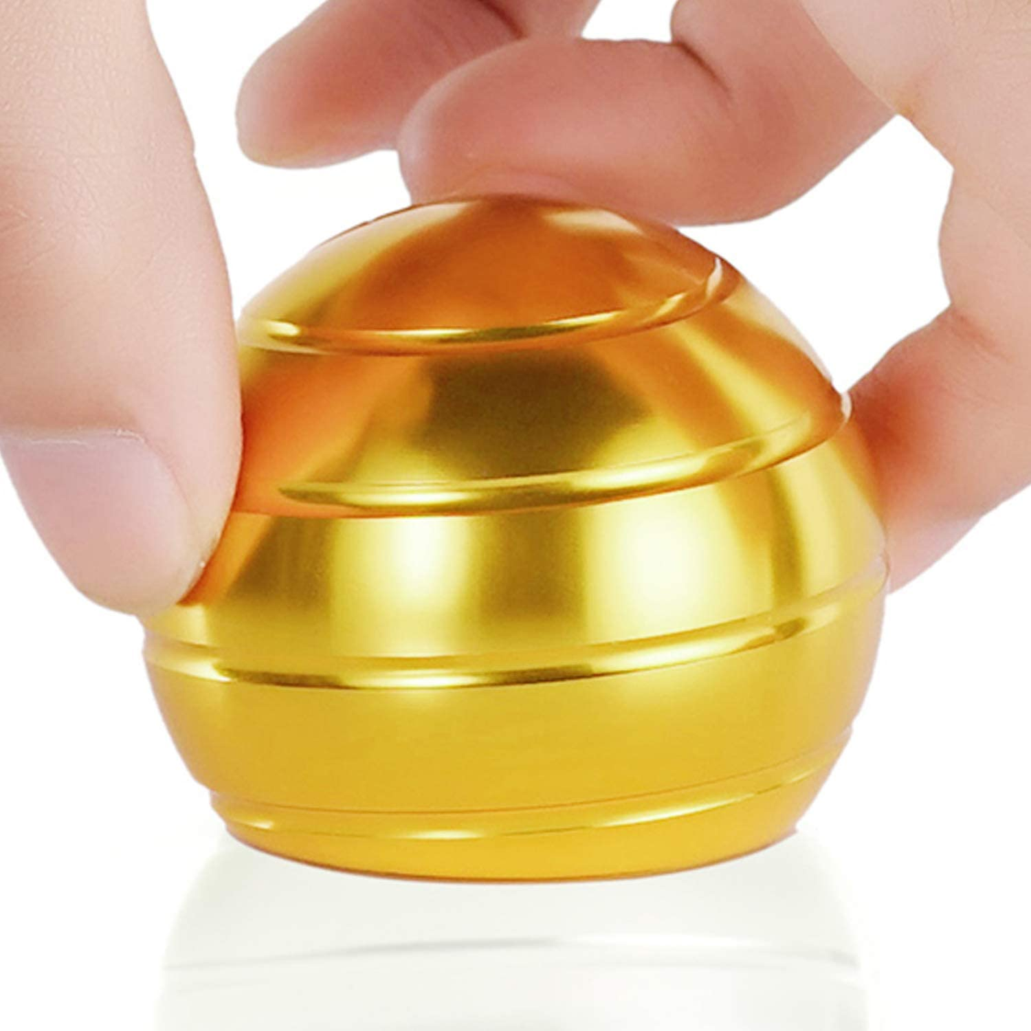 Desk Fidget Toys Safe for Adults & Kids New Version Metal Stress Reliever Kinetic Spinning Ball Unique Physics Art Gadget for Office & Home Anti Anxiety ADHD Relief Autism Relief Relaxation(Gold)