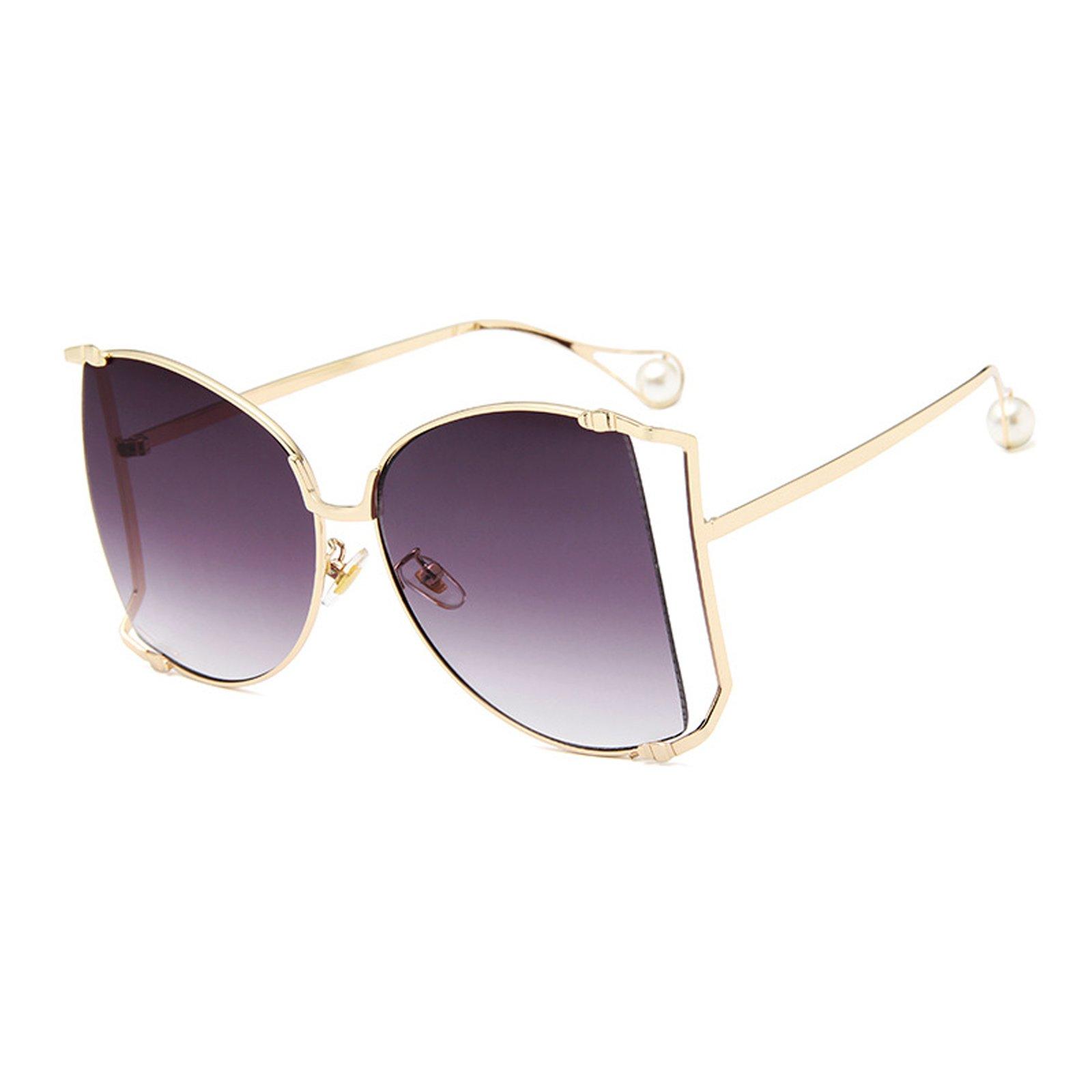 Livhò Sunglasses for Women Oversized Square Metal Frame Brand Designer Shades UV400