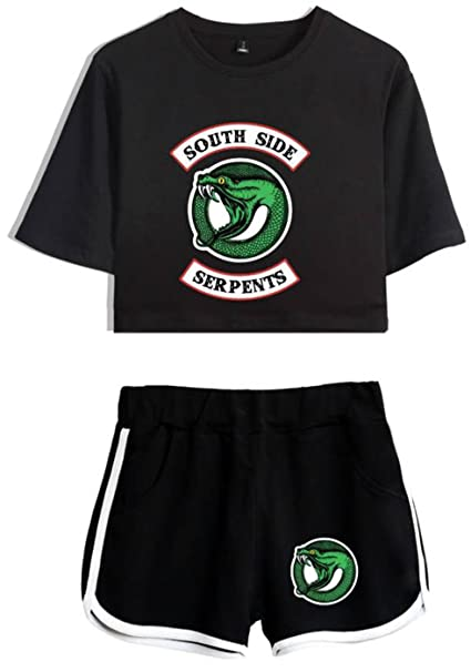 a938134a3b271 SERAPHY Riverdale Crop Top T-Shirts and Shorts Suit for Girls and Women  4890 Black