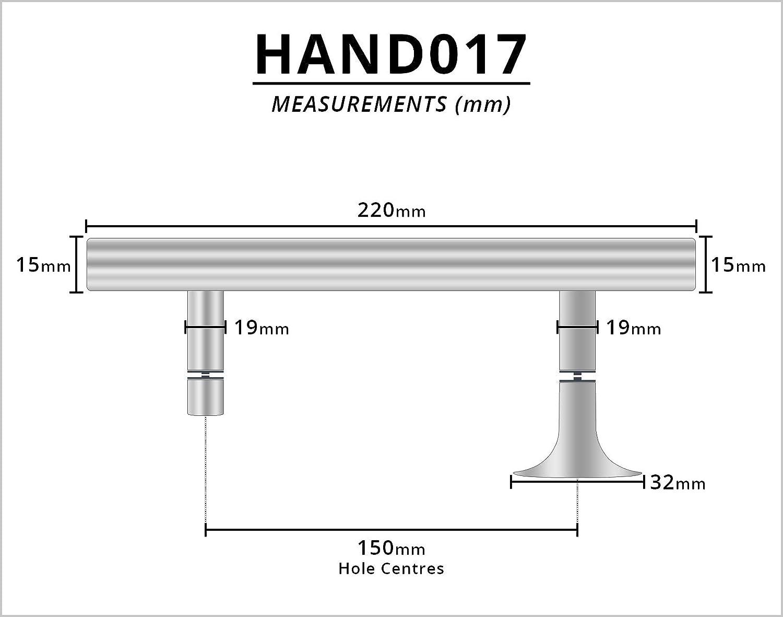 Lochabstand 220 mm lang f/ür Duschabtrennungen geeignet 150 mm Chrom Hand017 Duscht/ürgriff