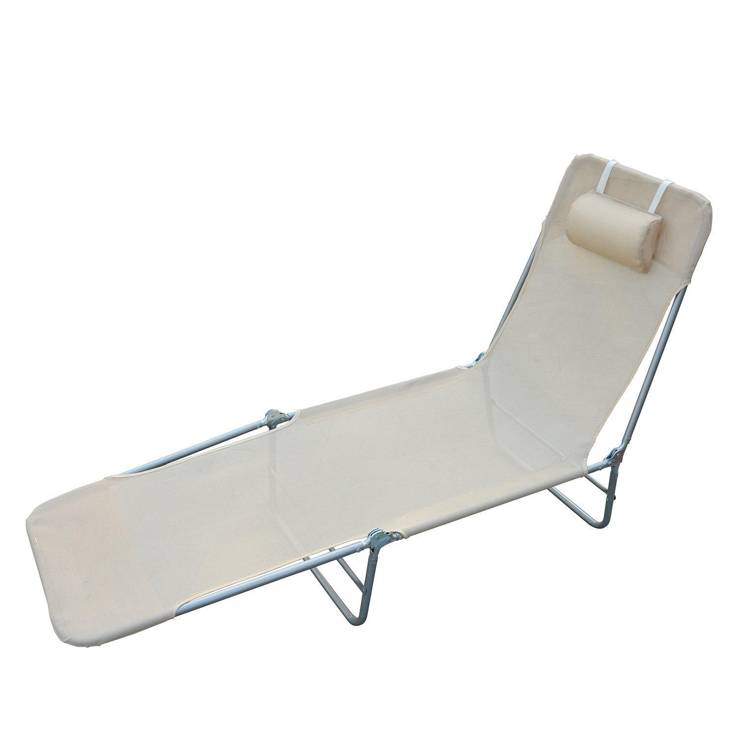 Outsunny Folding Portable Beach Lounge Chair Reclining Patio