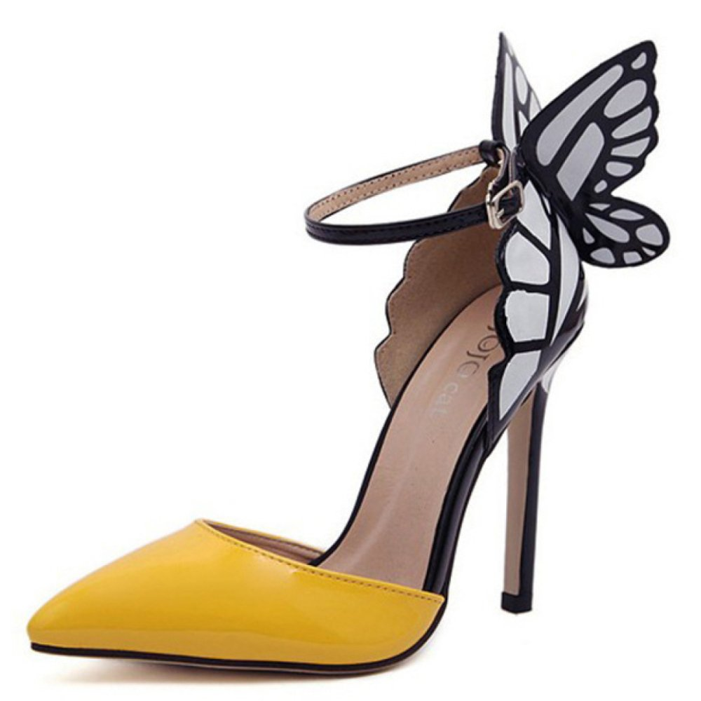 YEEOGL Damen Kitten Heels Schmetterling Damen Dorsay Spitz Closed Toe Hochzeit Casual Gericht Stiletto Sandalen Schuhe  EU36|Yellow