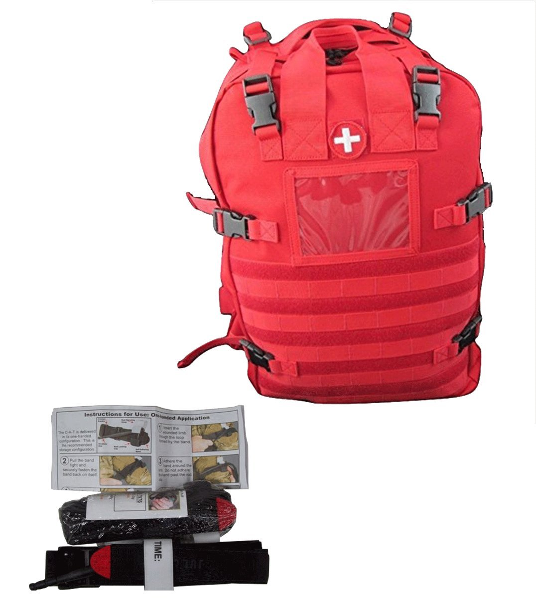 Medical Bags Fully Stocked - Stomp Medical Kit Bag With CAT Tourniquet Bundle (Red)