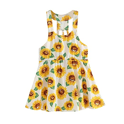 Amazon.com: ShiTou Girls Dress&&Sunflower- Print Sleeveless Floral Dress Outfits: Clothing
