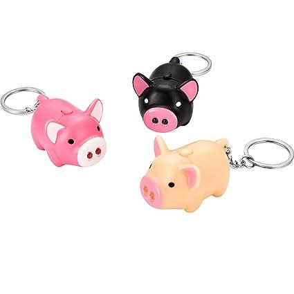 LED Lovely Oink Piggy Keychains Cartoon Child Car Bag Toy-Pink