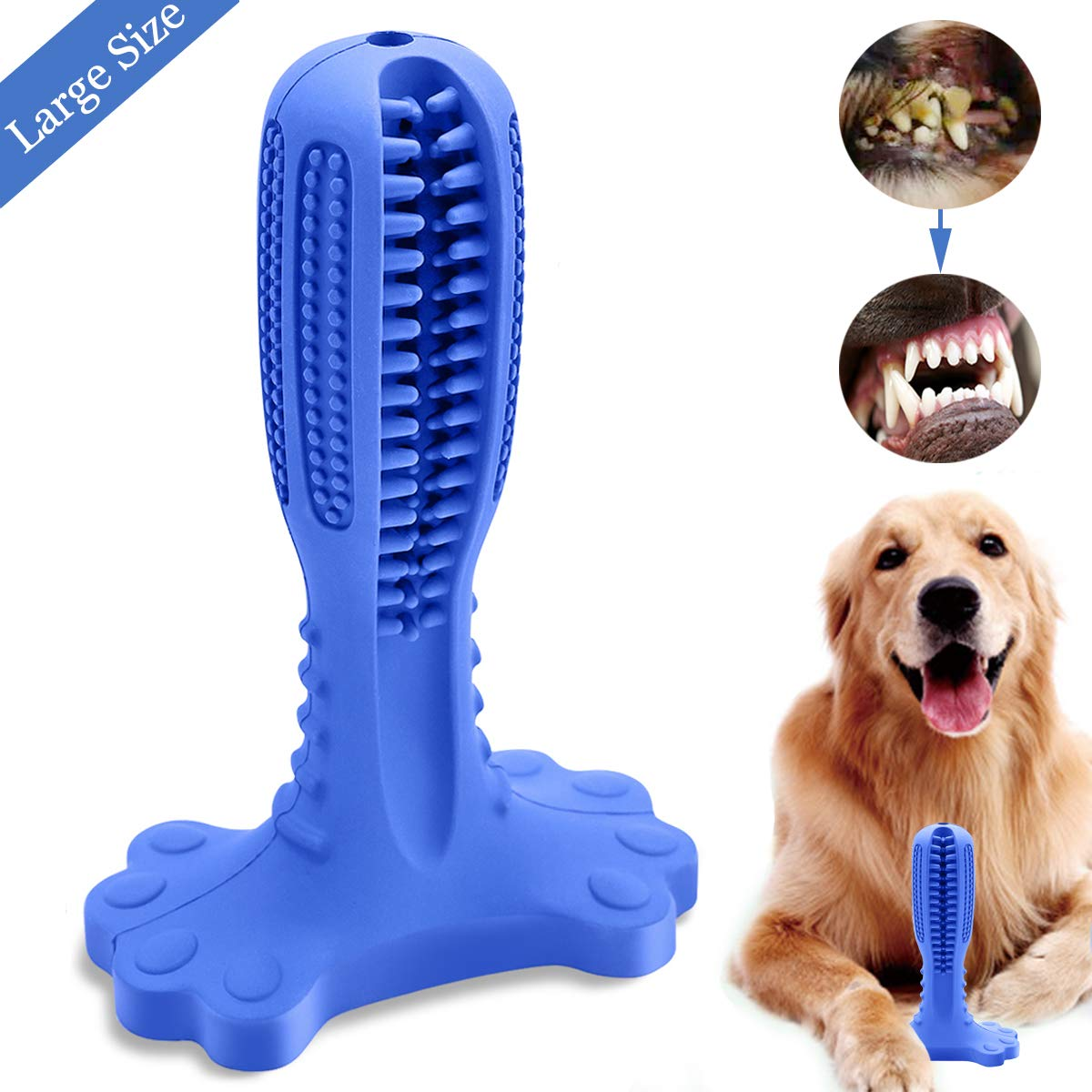 ANKEWAY Dog Chew Toothbrush-2019 Upgraded Version Large Size Natural Rubber Dog Teeth Cleaner Brushing Stick for Small, Medium and Large Dogs