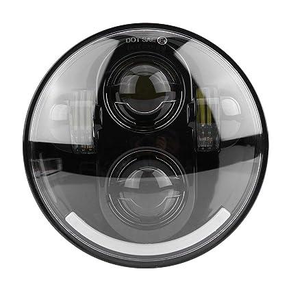 Qiilu 5.75 Pulgadas Moto Proyector Faro Blanco Halo LED Faro ...