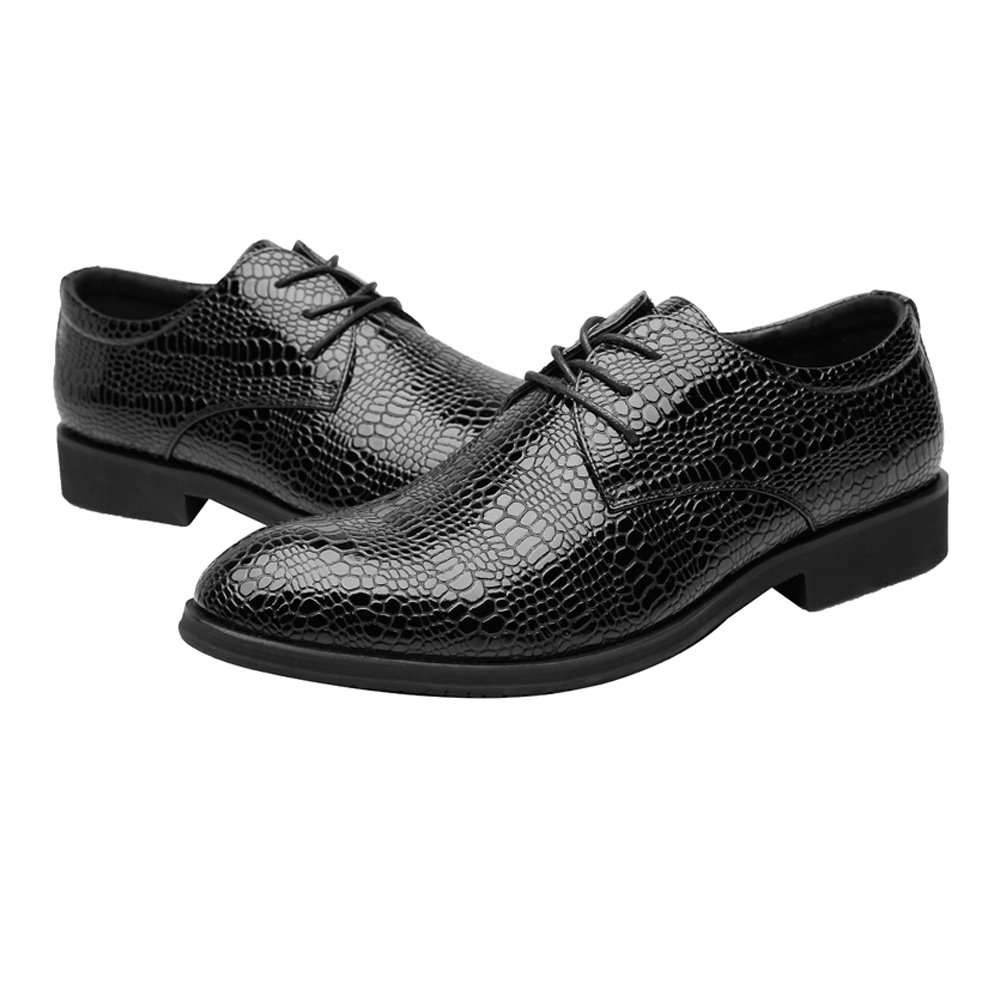 ZLQ Mens PU Leather Shoes Crocodile Skin Texture Upper Lace Up Breathable Business Lined Oxfords Breathable Shoes