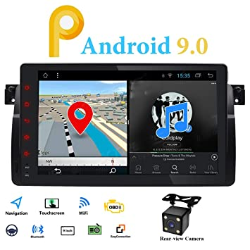 Android 9.0 Single Din Radio Estéreo de Coche GPS Fit para BMW E46 ...