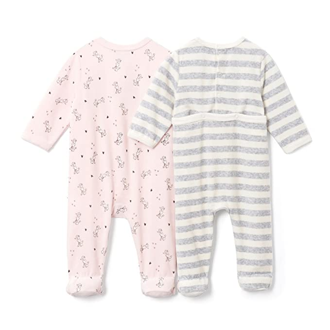 4db36a0c469 La Redoute Collections Baby Girls Pack Of 2 Poodle Velour Sleepsuits,  Birth-3 Years