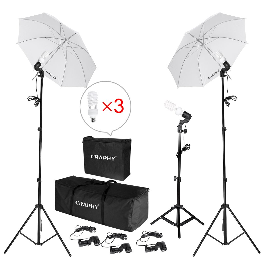 CRAPHY 600W Photo Studio Umbrella Continuous Lighting Kit Photography Umbrella Kit Light with Bulb Case,Light Stand Carrying Bag for Portrait Video Shooting YouTube