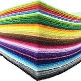 42pcs 6 x 6 inches (15cm x 15cm) Felt Fabric Sheet Assorted Color Felt Pack DIY Craft Squares Nonwoven