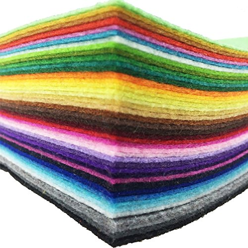 42pcs 6 x 6 inches (15cm x 15cm) Felt Fabric Sheet Assorted Color Felt Pack DIY Craft Squares Nonwoven