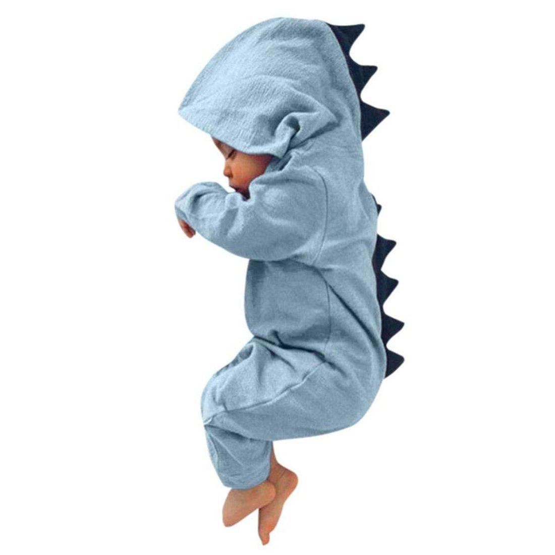 CKLV Interesting Romper Jumpsuit Outfits Clothes,Infant Baby Kids Dinosaur Hooded Romper Jumpsuit Outfits Clothes (Blue, 12-18 Months)