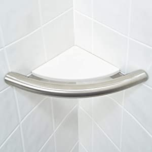 GBS Corner Shelf Grab Bar - Home Mobility and Safety Aid/Tub and Shower Fixture/Bathroom Slip Prevention/Stainless Steel Finish