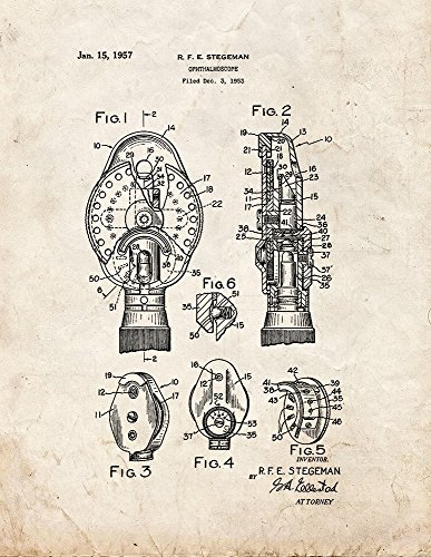Eye Doctors Ophthalmoscope Patent Print Art Poster Old Look  8 5  X 11