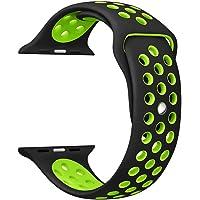 Ostart Correa de repuesto para Apple Watch Nike +, correa deportiva de silicona suave con orificios de ventilación para iWatch Series 12, tamaño M/G