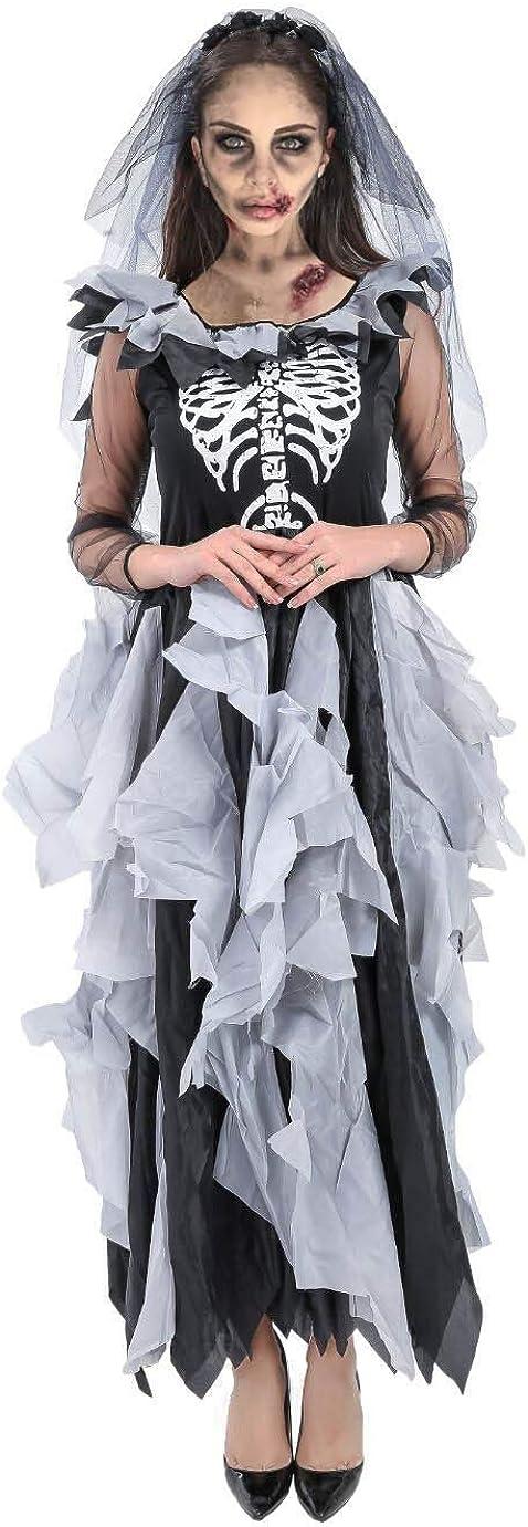 Forever Young Disfraz de novia zombi para mujer, para el día de los muertos, disfraz de Halloween