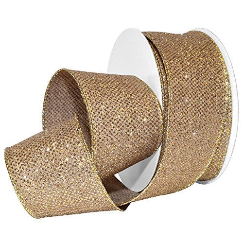 Morex Ribbon Aurora Ribbon, Polyester, 2 1/2 inches by 20 Yards, Gold/Champagne, Item 7614.60/20-815, 2-1/2
