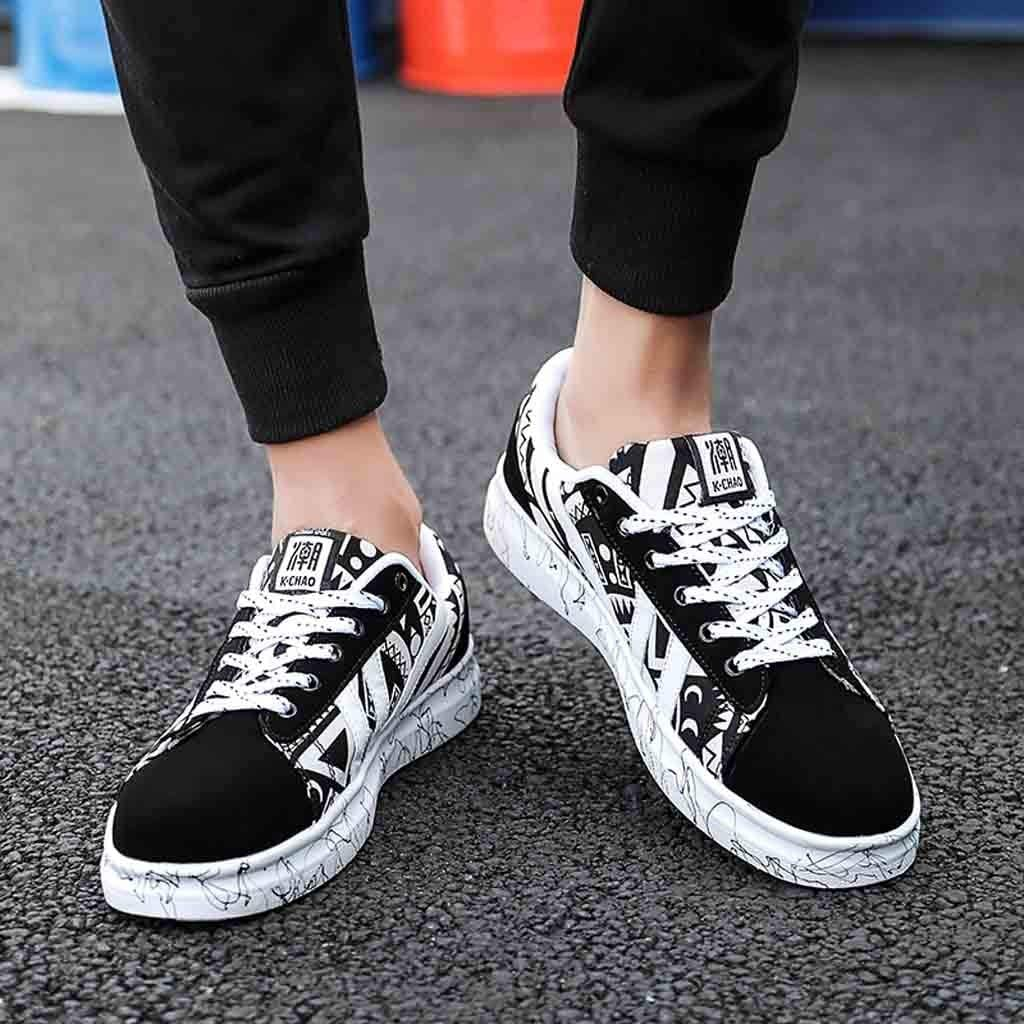 Toimothcn Mens Casual Lace-Up Colorful Canvas Sport Shoes Sneakers Graffiti Shoes