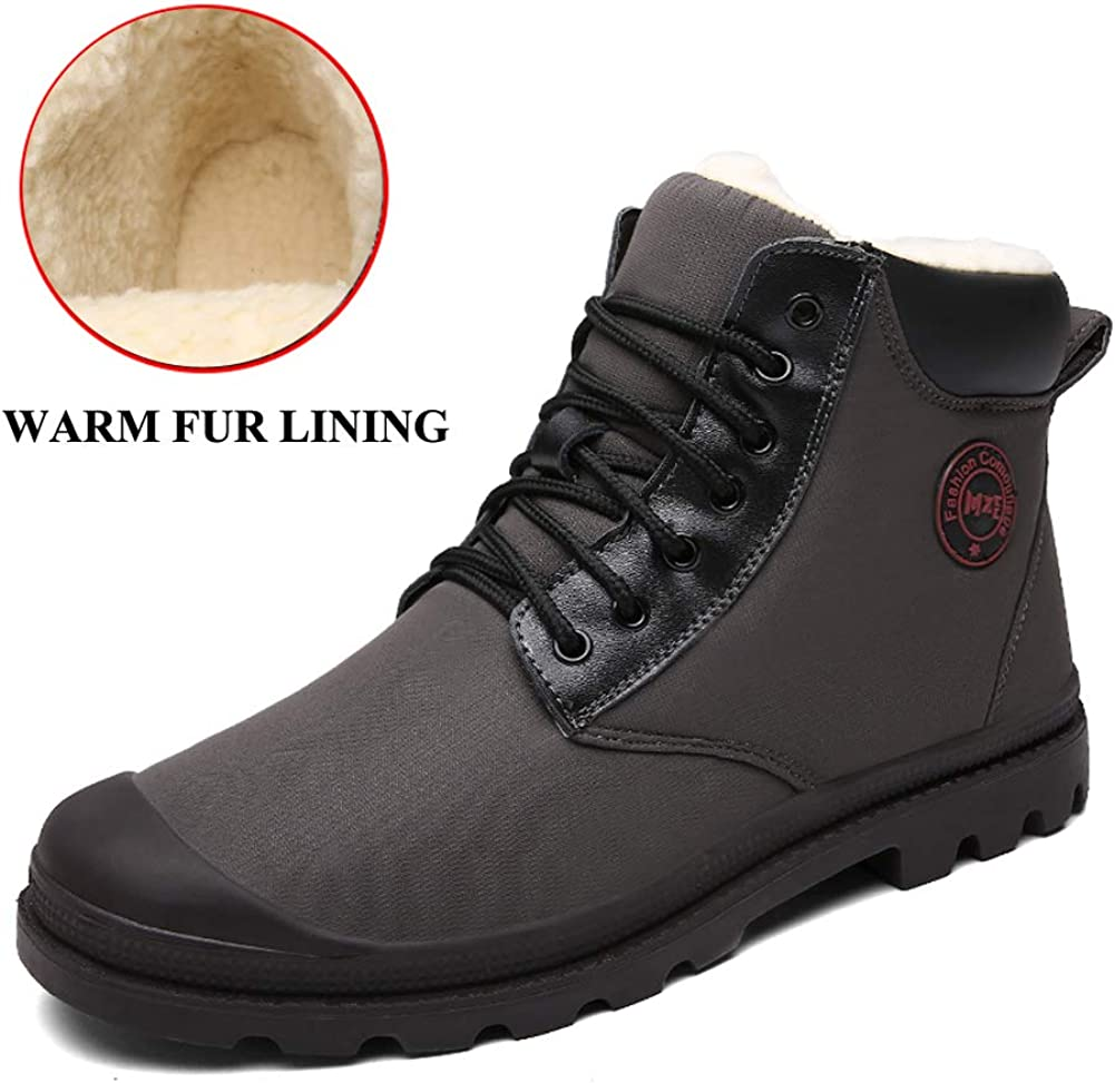 Men High Top Snow Boots Fashion Velvet Warm Casual Lace Up Flat Shoes for Hiking Backpacking Trekking Trails