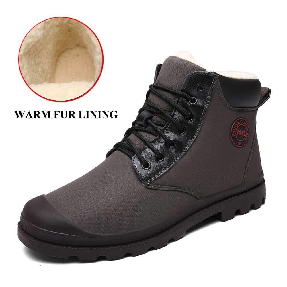 ZHShiny Winter Snow Boots Men Waterproof Outdoor Ankle Shoes Warm Fur Lining Booties Hiking Walking Boot by ZHShiny (Image #1)