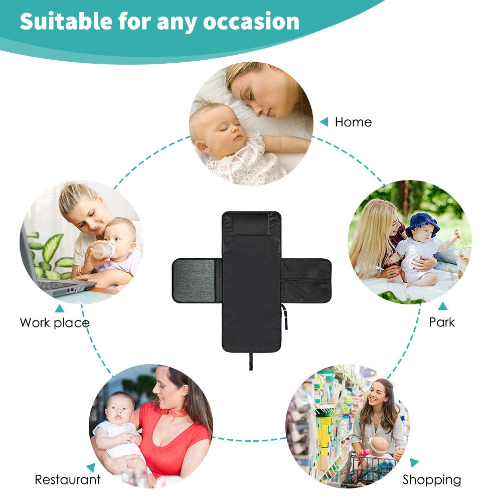 Volador Extra Large Baby Diaper Changing Pad Portable Foldable Baby Changing Station with Head Cushion Waterproof Diaper Clutch for Travel Infant Nappy Changing Mat Lightweight