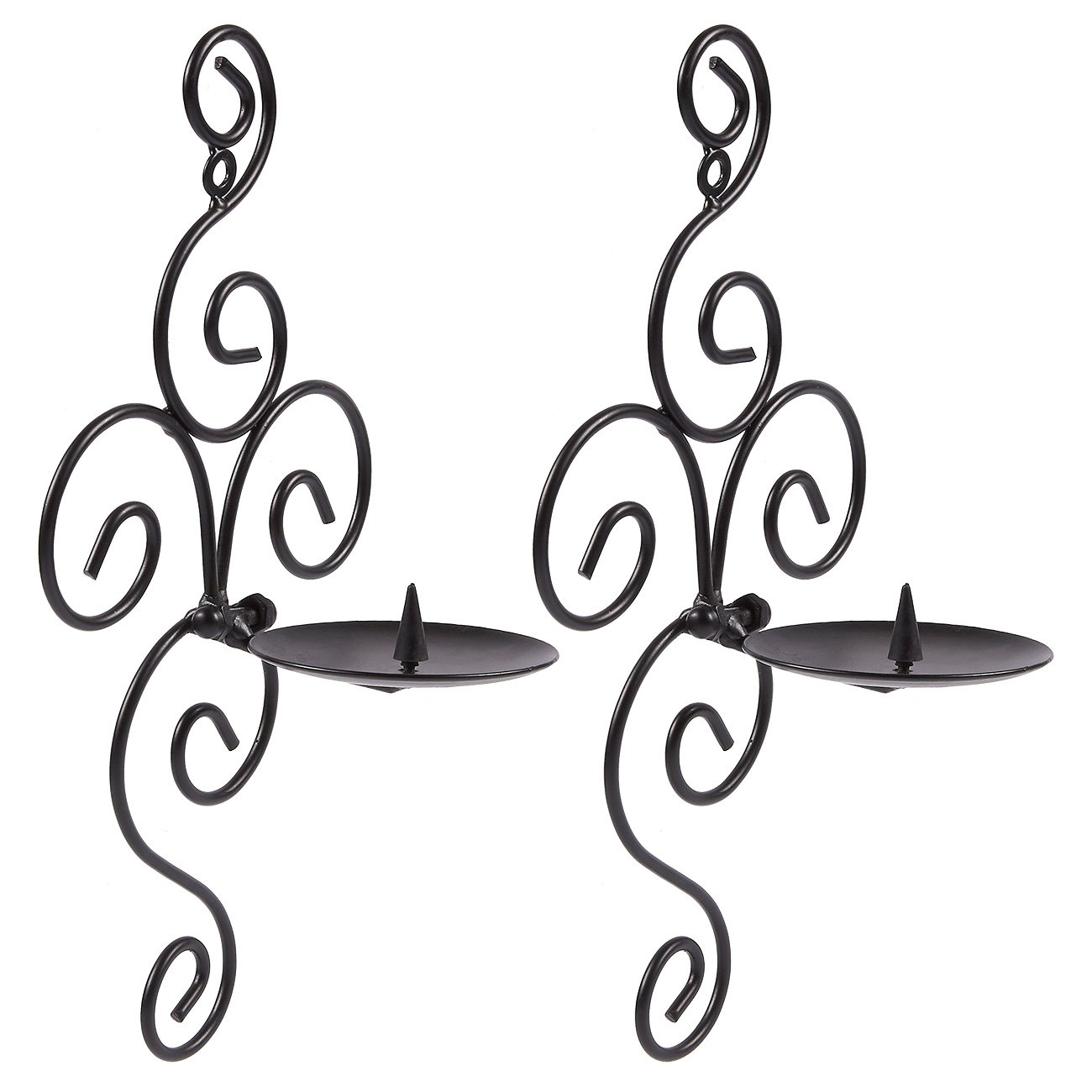 Juvale Pack of 2 Wall Candle Holder Set - Swirling Theme Sconce - Modern Decorfor Home, Kitchen, Weddings, Spas, Events, 5.4 x 11 x 4 inches, Black