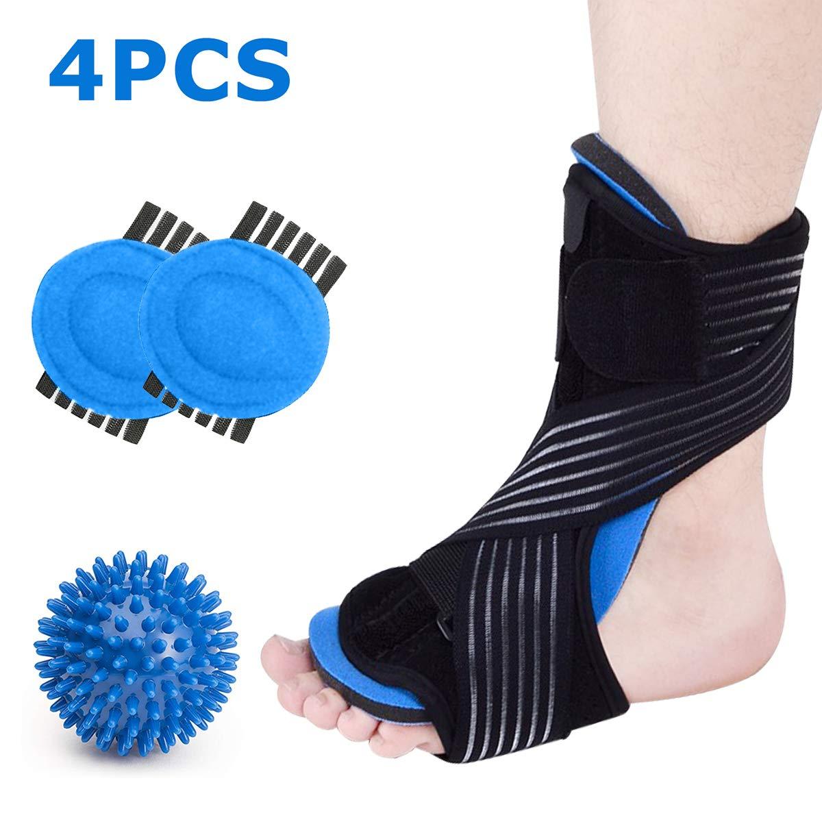 Plantar Fasciitis Night Splint Foot Brace Support Kit for Sleep, Adjustable Dorsal Plantar Fasciitis Splint + Arch Supports + Spiky Massage Ball for Arch, Heel, Foot Drop Pain by HozHoy