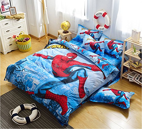 CdyBox 4 Pieces Kids Cartoon Duvet Cover Bedding Set Twin Qu