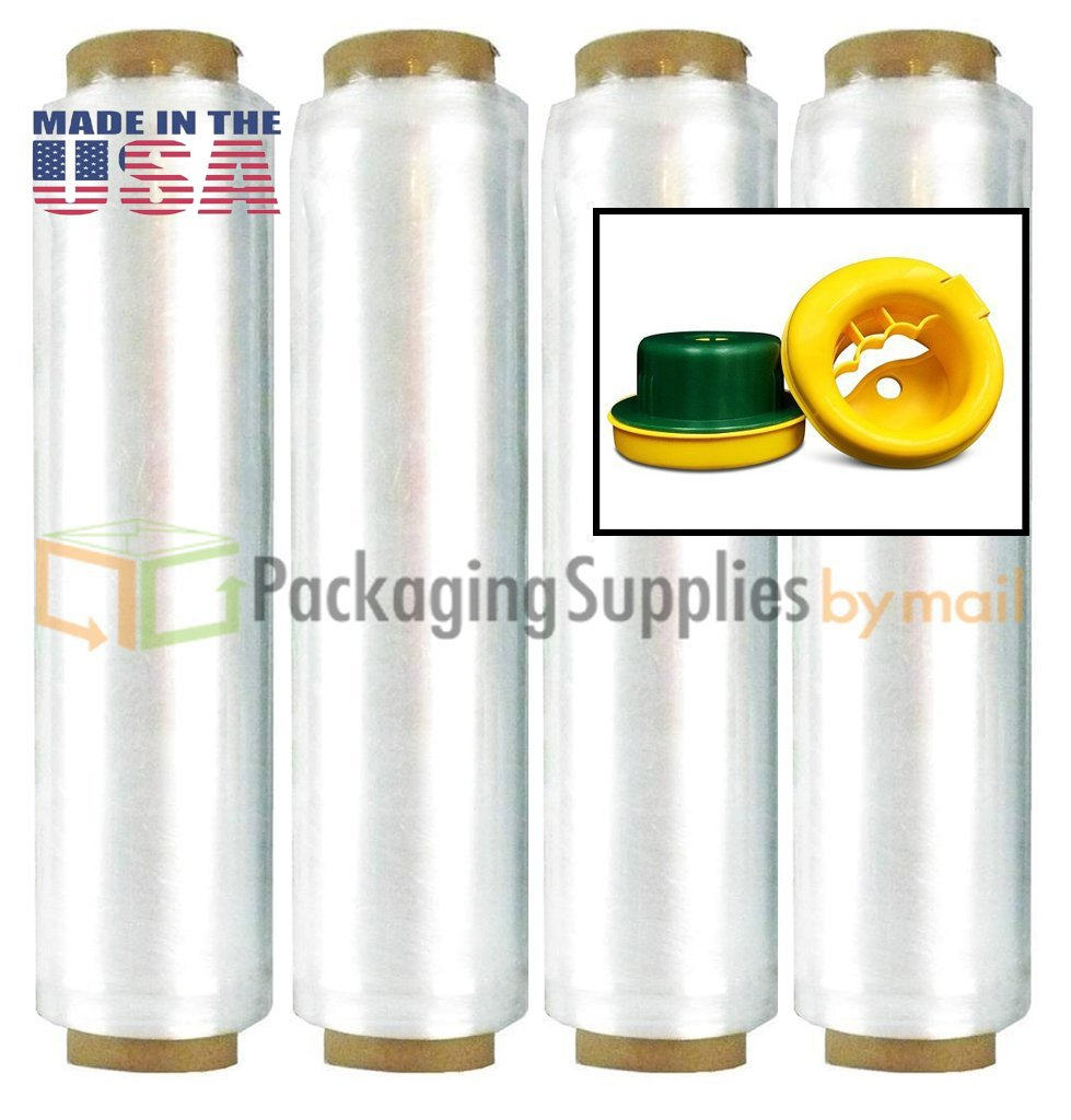 (8 Rolls) Advanced Hand Pre-Stretch Wrap Film w/Folded Edges 15'' x 1476' 6 mic. (24 Ga) + Free Dispenser