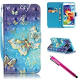 Galaxy S5 Case, Galaxy S5 Wallet Case, Firefish Kickstand Flip [Card Slots] Wallet Cover Double Layer Bumper Shell with Magnetic Closure Strap Case for Samsung Galaxy S5 i9600-Butterfly