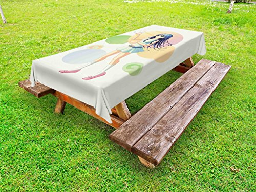Lunarable Japanese Outdoor Tablecloth, Anime Style Girl Gesturing to Colorful Butterflies Female Figure Asian Manga Art, Decorative Washable Picnic Table Cloth, 58 X 120 Inches, Multicolor
