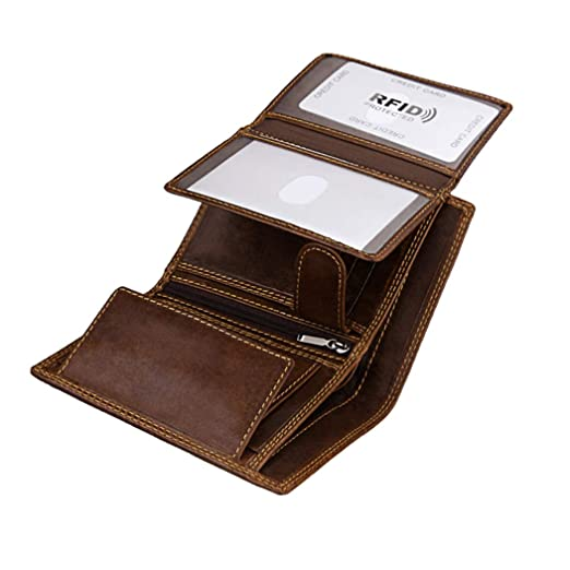 d929375f6e7d Wallet for Men With Coin Pocket RFID Leather Card Holder Big Trifold 3 ID  Windows