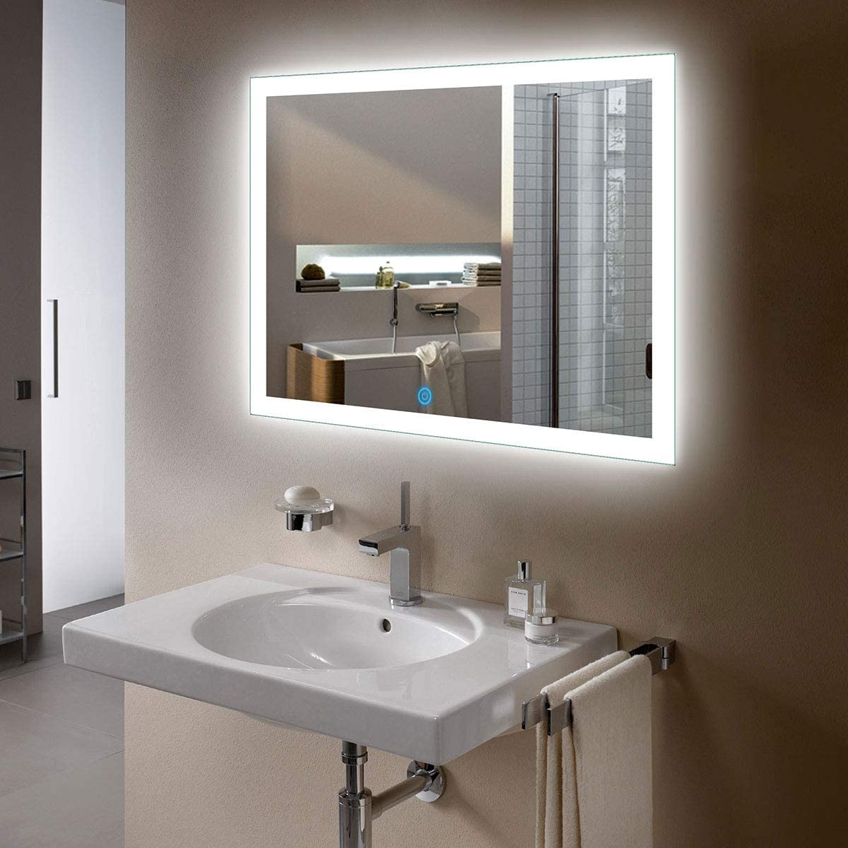 D-HYH Horizontal Rectangle Illuminated Bathroom Wall Mirror White Mirror with Lights with Touch Button 36 x 28 Inch D-N031-I