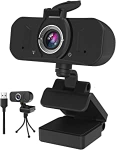 Gemwon 1080P Webcam with Built-in Microphone & Privacy Cover, 360 Degree Rotation, Plug and Play, 110 Degree Wide View, Full HD USB 2.0 & 3.0 Web Camera with Adjustable Tripod Stand and Mic for Laptop Desktop Computer PC, for Windows Mac OS, for Video Streaming Conference Gaming Online Classes Recording