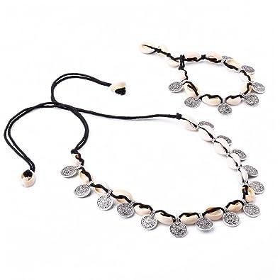 Tfan JaneDream Women Bohemian Shell String Choker Necklaces Chain Link Necklaces Sweet Cute AJDXVkik