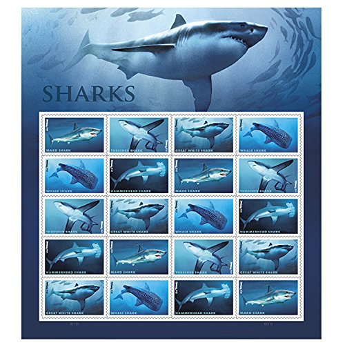 Sharks - USPS Forever Stamps Sheet of 20 - New 2017 Release ()
