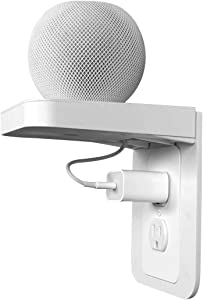 Apple Homepod Mini Wall Mount,Outlet Shelf Holder,Power Perch with Built-in Cable Management,A Space Saving Solution for Homepod Mini,Google Home/Echo/Electric Toothbrush (White,Standard)